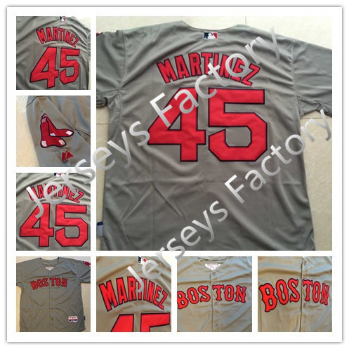 2015 Boston Red Sox Jersey #45 Pedro Martinez Cool Base Baseball Jersey Grey With Red Name Number Stitched, Free Shipping(China (Mainland))