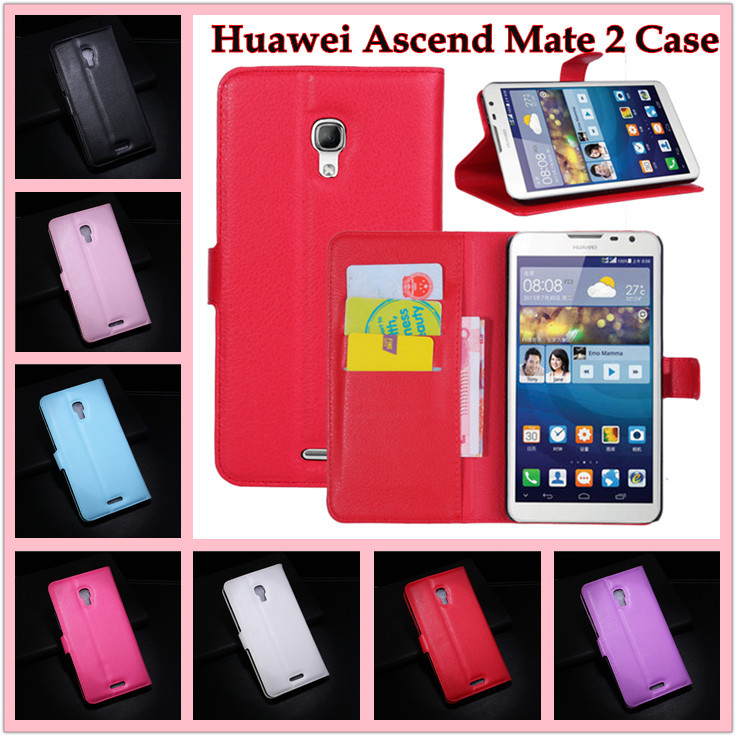 Huawei Ascend Mate 2 phone case luxury litchi texture flip leather cover magnetic stand function