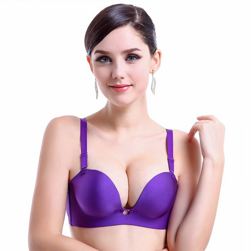 Plus Size Bras Sexy Lingerie Half Cup Woman Brassiere Underwear Super Push Up Bra A B Cup Seamless Bra For Women Bralette(China (Mainland))