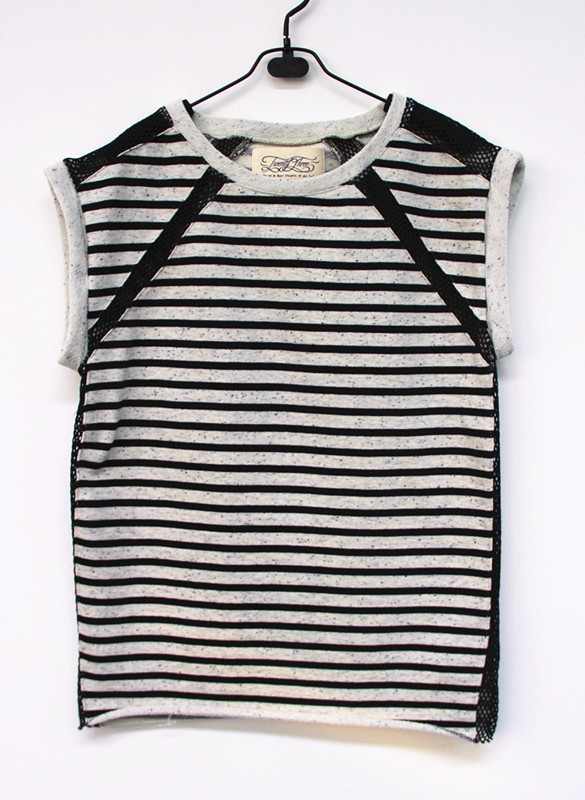 Women's 100%Cotton Yarn Dye Stripe Nep French Terry Street wear Sleeveless Sweatshirt , Cotton Mesh Inset(China (Mainland))