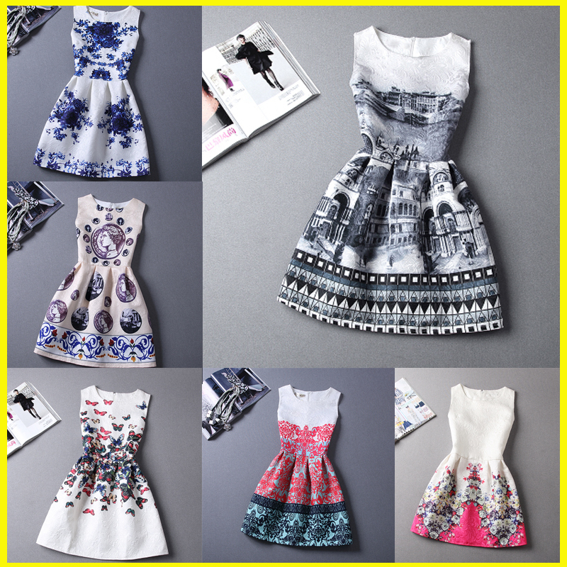 2015 Summer Style Dresses For Girl Floral Printed Sleeveless Formal Girl Dresses Teenagers Party Dress Cheap Free Shipping(China (Mainland))
