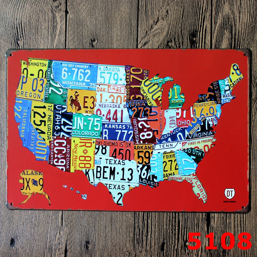 RED COLOR AMERICAN MAP Printing Metal Wall Sticker IRON Plaque PUB Wall Sticker house Tin Signs Shop Decor 20X30CM(China (Mainland))