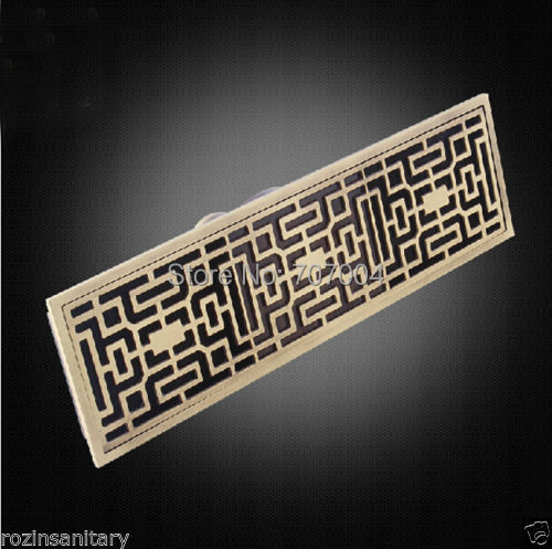 Free Shipping Wholesale and Retail Antique Brass Linear Floor Waste Channel Grate Drainer Shower Drainer 28cm Long(China (Mainland))