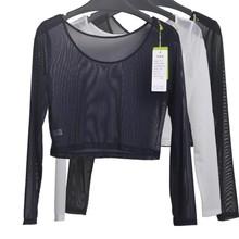 10 Colors Women Sexy Slim Semi-transparent Mesh Crop Tops Girl Long Sleeve Short T-Shirts Tees Single Layer Mesh(China (Mainland))