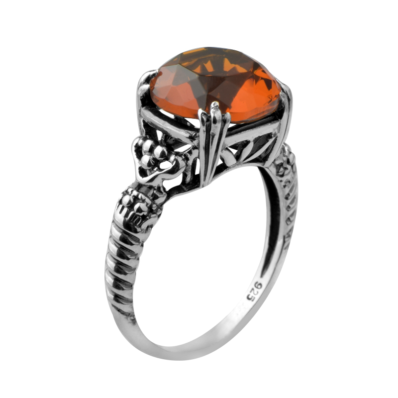 Chinese national 5.3 CT brown Gem atmosphere vogue domineering ancient female silver ring<br><br>Aliexpress