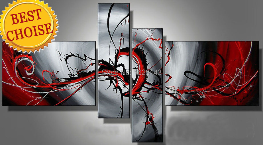 2015 new style!Passion red silver abstract canvas art 4 Combination oil painting on canvas hand painted modern wall picture 4P57(China (Mainland))