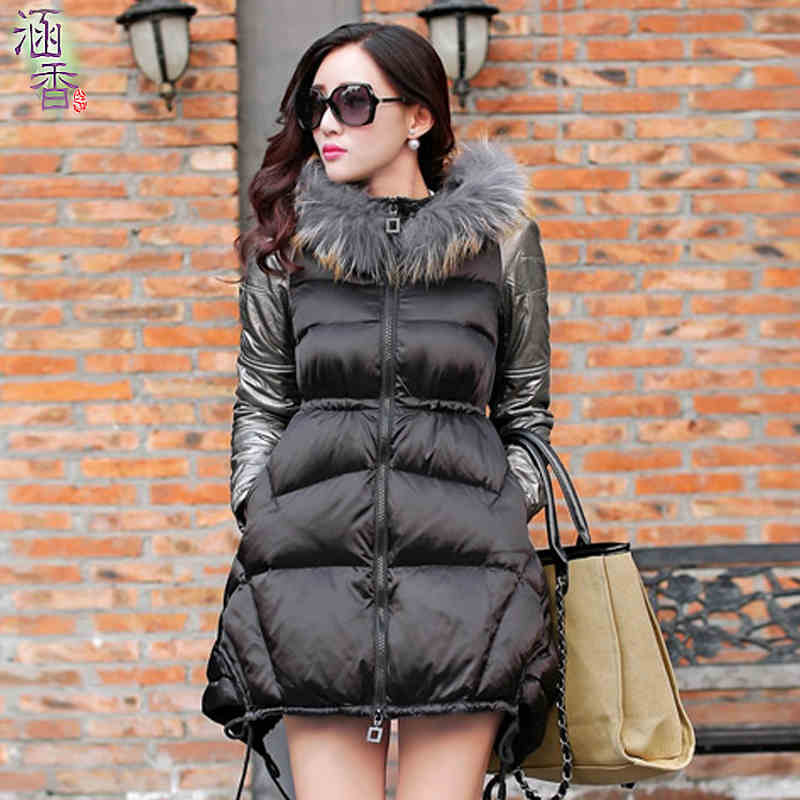 2015 new heat winter Thicken Warm Woman Coat Parkas Cotton Wadded jacket Outerwear Hooded Fur collar Slim long plus size 2XXL(China (Mainland))