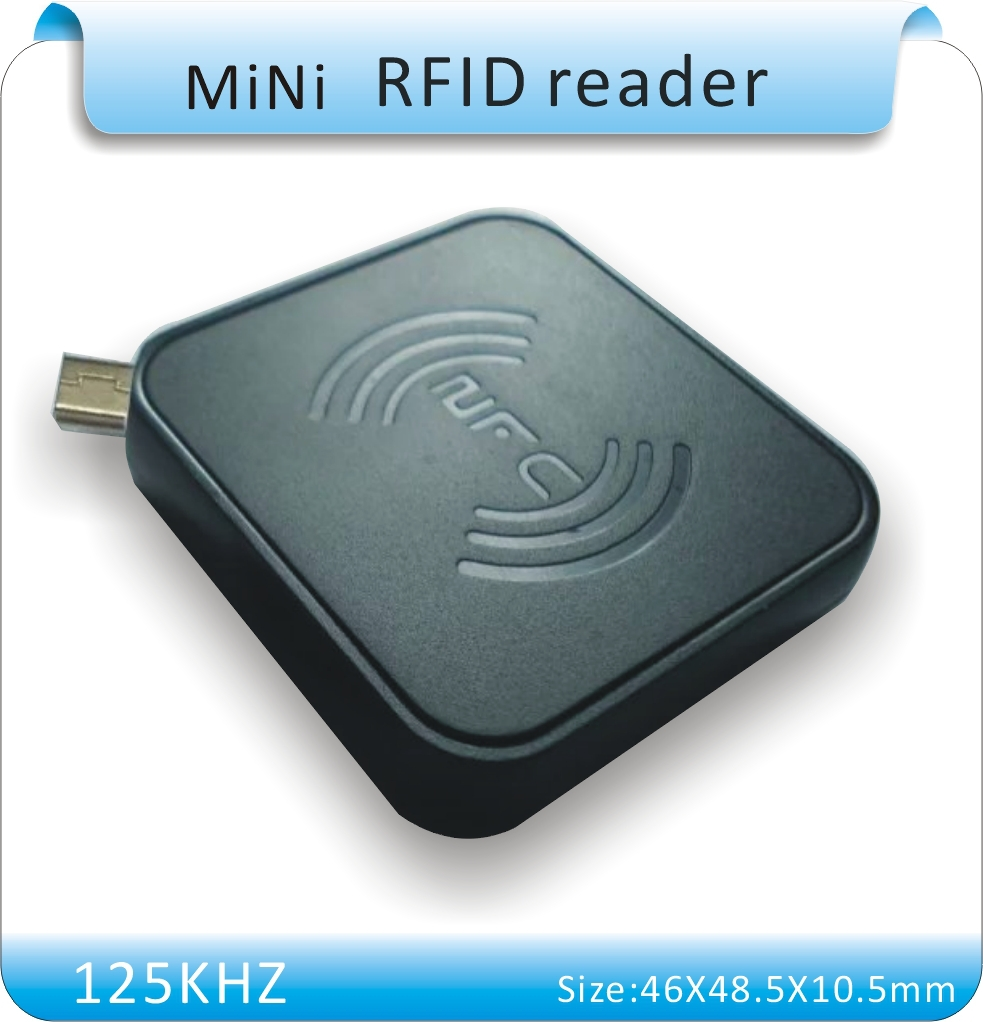 Free shipping 8H10D format MiNi 125KHZ RFID tags reader/MINI reader /  for Android phone/paid APP system +10pcs cards