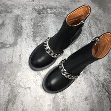 2017 Yeni Zincir Martin Çizmeler Kadın Yuvarlak Ayak Gümüş Altın Metal Zincir Siyah Gerçek Deri kısa çizmeler Geri Fermuar yarım çizmeler(China)
