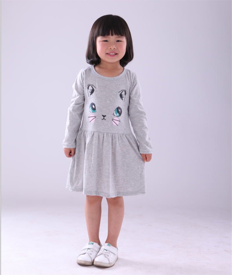 2016 New Arrival spring and autumn girl dress cat print grey baby girl dress children clothing children dress 1-8years(China (Mainland))