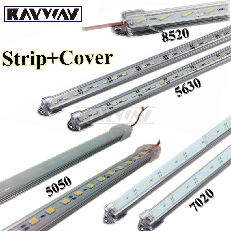 Factory Wholesale 5pcs*50cm DC 12V 36 SMD 5630 5050 7020 8520 Hard Rigid LED Strip Bar Light with U Aluminium shell +pc cover(China (Mainland))