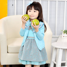 2015 spring female child knitted long-sleeve cardigan child children's clothing one-piece dress sweater winter set skirt(China (Mainland))