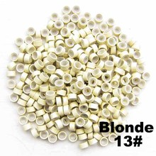 1000pcs/lots Feather hair extension beads Aluminium Silicone Micro Ring for Hair Extension Tools, Blond(China (Mainland))