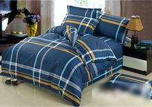 100% Cotton Quilt Doona Duvet Cover Set Boys Navy Blue Stripe Yellow Grey Dark bed linen(China (Mainland))