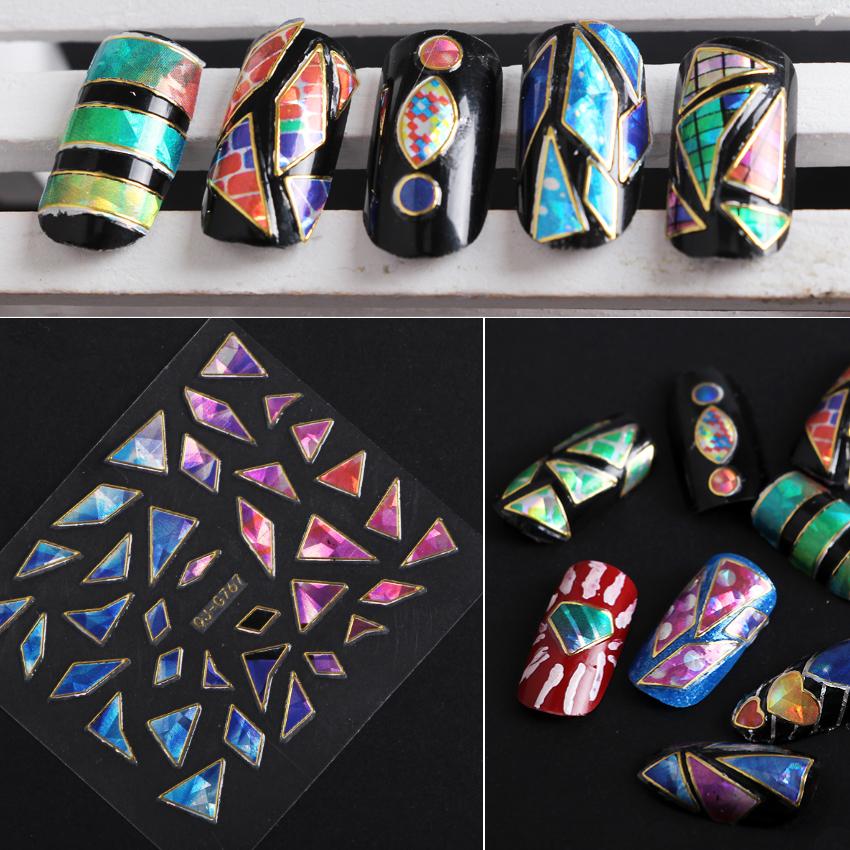 New Irregular Glass Cullet Design Nails 3D Colorful Aurora Sky Adhesive Sticker Nails 2016 Nail Art Decorations QJ-G767-G790(China (Mainland))