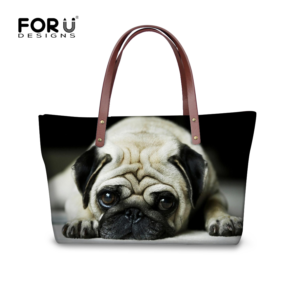 3D zoo animal handbags for woman casual mulit-function shopping travel large tote bags cute pug dog head women messenger bags(China (Mainland))