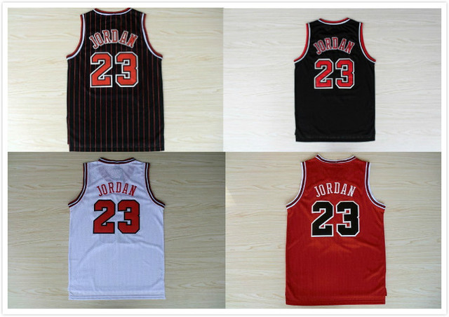 Online Shop Stitched #23 Michael Jordan Jersey Red White Black ...