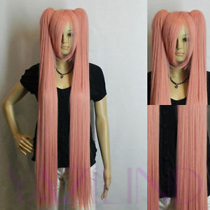 Vocaloid Hatsune Miku 2 Clip-on Ponytails Long Straight Hair Full Wig smoke pink   Ladies Heat Resistant Synthetic hair Wigs