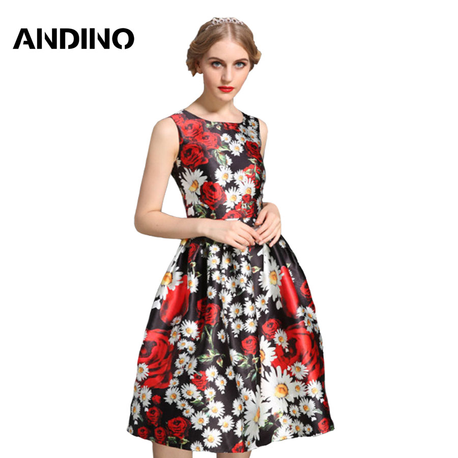 2016 Fashion Dolce Dress Women Clothing High Quality Print Dresses Summer Sleeveless Lady's Clothes Cotton Dress US Style(China (Mainland))