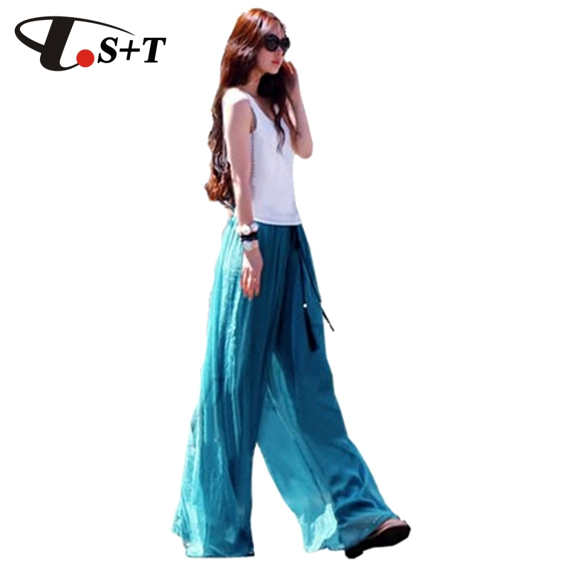Plus Size Palazzo Pants Women Summer Casual Pants High Waist Loose Flare Wide Leg Long Pants(China (Mainland))