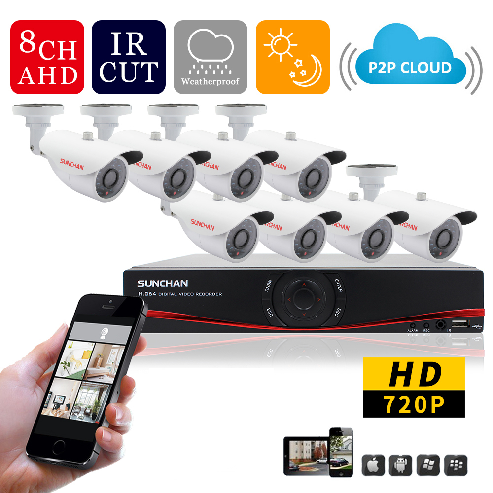 SunChan Home 1.0MP Outdoor CCTV Security Camera System 8Channel AHD 720P 960H DVR Video Surveillance System Camera Kit HDMI(China (Mainland))