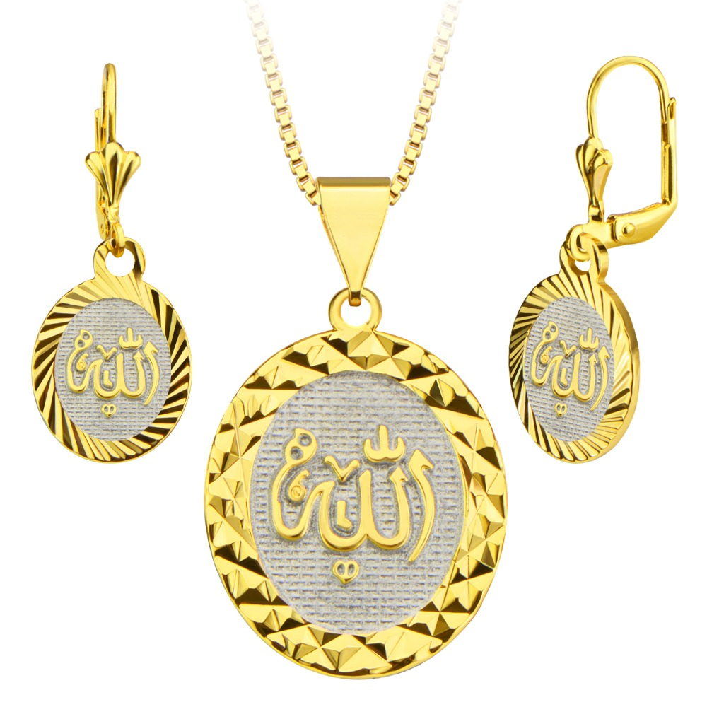 18k Gold Plated Allah Prismatic Necklace&Earrings Jewelry Set Special Design Jewelry for Women/Men Gift Wholesale S20159(China (Mainland))