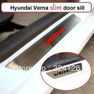 freeshipping Hyundai Verna stainless steel slim scuff plate door sill 4pcs/set car accessories for Hyundai Verna