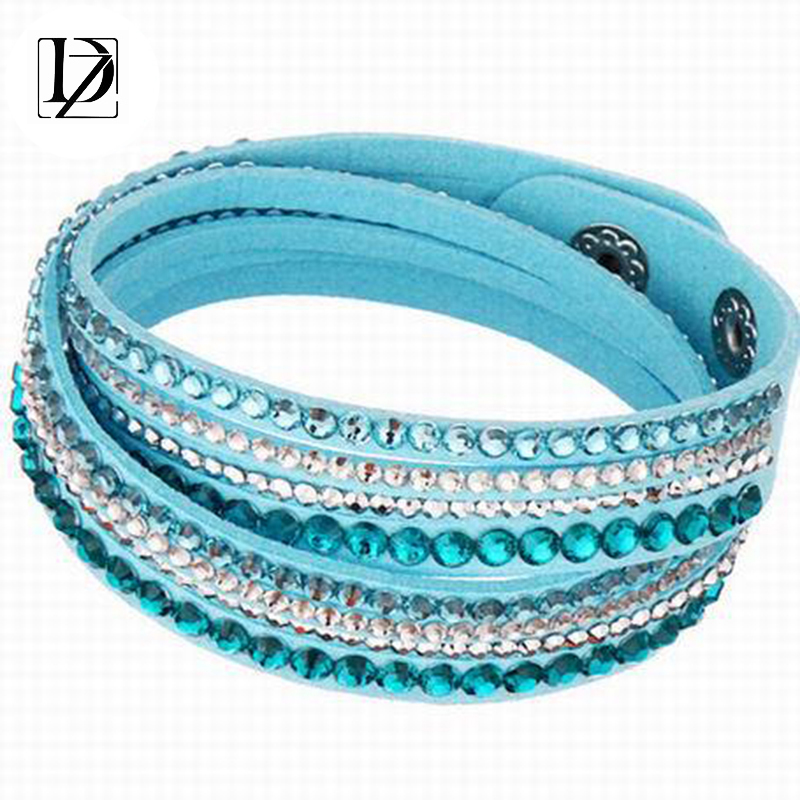 2016 Newest Fashion Vintage Double Circle Colorful Multilayer Leather Bracelets Crystal Spike Bracelets For Women Jewelry WB453(China (Mainland))