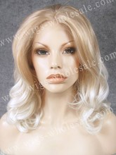 Heat resistant fiber lace front wig  short curly white two tone synthetic lace front wig