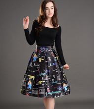 2016 New Fashion Digital Cartoon Floral Printed A-Line High Waist Midi Tutu Skirt Women's Umbrella Sheds Knee-Length Sexy Skirts