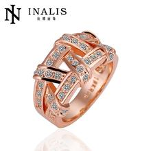 R061 Wholesale wedding rings 18k goldNickle Free Antiallergic  Fashion Jewelry l8K gold Plated Ring For Women (Hong Kong)