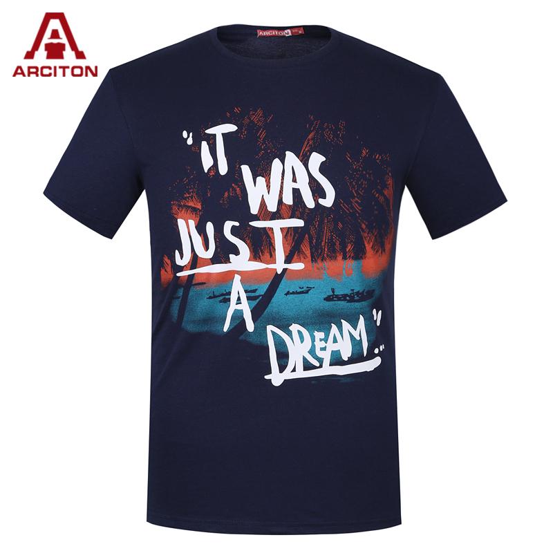 ARCITON 100% Cotton Men T Shirt Printed Fashion Design T-Shirt Men Brand New Slim Fitness Tshirt Men Clothes 3XL (MPO-7492)