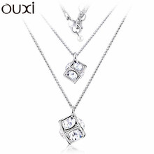 Big Coupon Discount Women Necklace Pendant Crystal Jewelry Collar Cubics Jewlery White Gold Plated OUXI NLA091