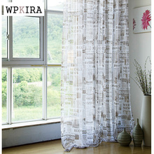 newspaper curtain yarn personality cloth coffee tulle panels finished curtain cloth window screening modern designs D064#20(China (Mainland))