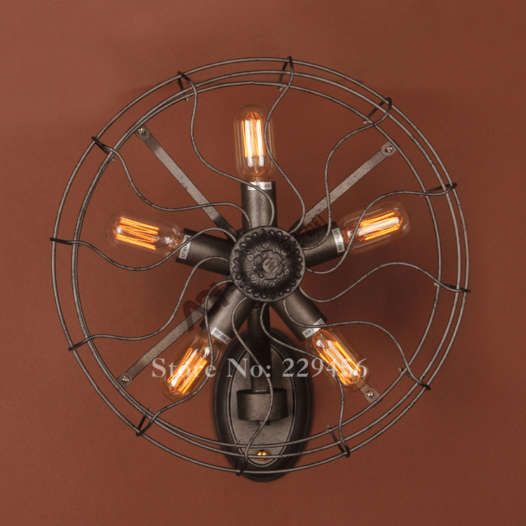 Vintage Wall Mounted Fans : American vintage industrial fan style wall lamp restaurant