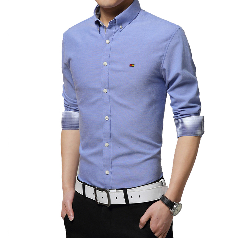 2015 New Brand Men Shirts Long Sleeve Male Business Casual
