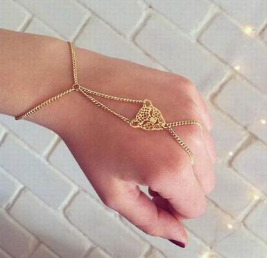 Мода женская золотой стройный браслет цепочка с леопарда глава украшения идеальный ...