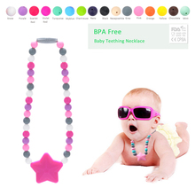 1pcs Jewelry Baby Teething Necklace Wholesale Silicone Teething Necklace Carrier Chain Safe Teething Toy Baby Teether BPA  Free(China (Mainland))