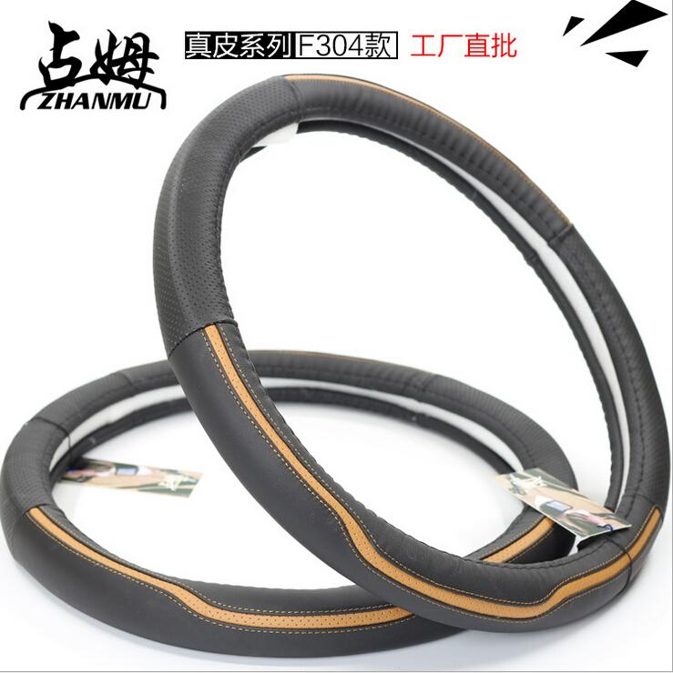Original Zhanmu Universal Sports Real First layer cowhide Leather Car Steering Wheel Cover Case 38cm Diameter Free Shipping(China (Mainland))