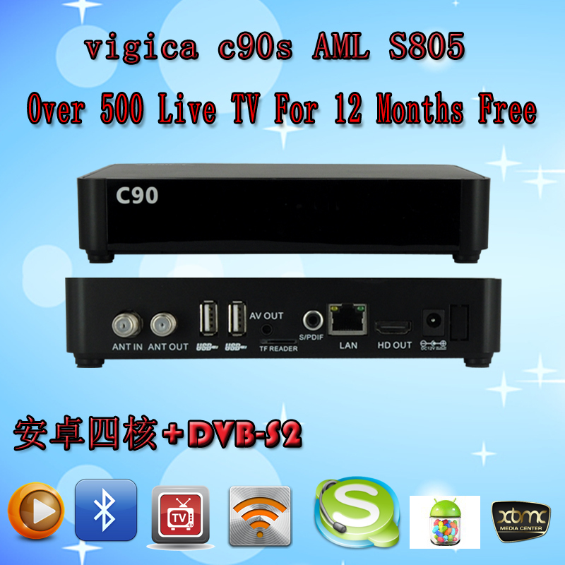 Vigica C90S Android DVB-S2 AML S805 Quad Core 1G/8G Android 4.4.2 Arabic Europe 550 IPTV Channel BeINSports MBC OSN CCCam Newcam(China (Mainland))