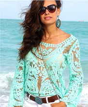 New 2014 fashion Women Lace Sexy Blouses Full Sleeve  Floral Embroidery Crochet Lace Tops Blusa  Shirts Plus Size(China (Mainland))