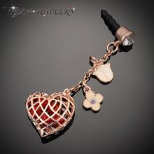 2014 Hot Selling 3.5mm Earphone  Dust Plug  Flower & Hollow Heart Long Chain Pendant  Dustproof  Plug  Phone Jewelry