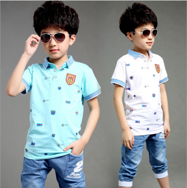 2015 New Summer Style Big Boys Children S Clothing Set Tees Pants Kids Short Sleeved