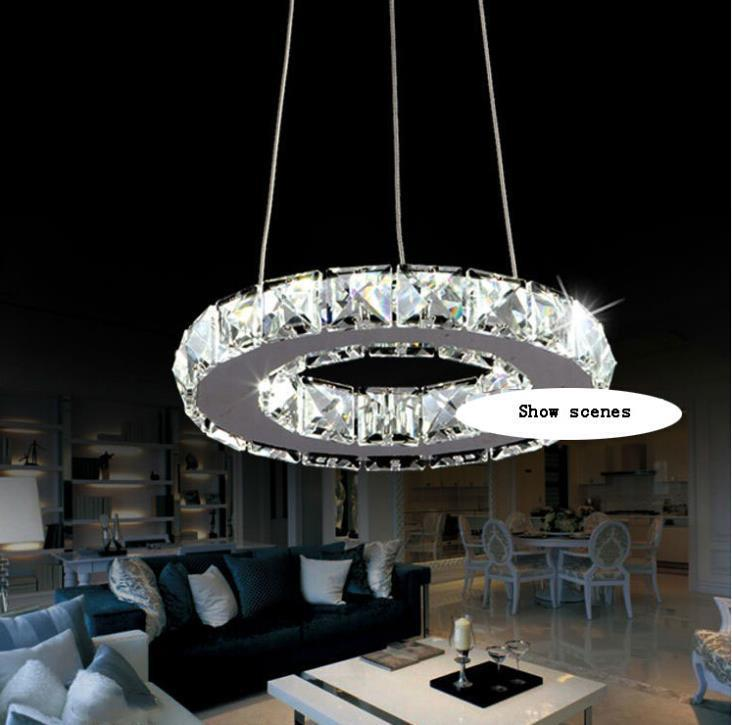 silber kristall ring gef hrt kronleuchter kristall lampe licht leuchte modern led kreis licht in. Black Bedroom Furniture Sets. Home Design Ideas