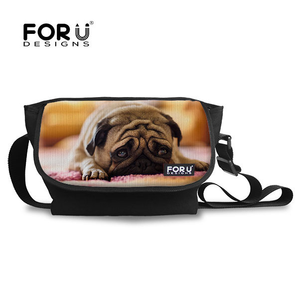 New Brand 3D Animal Pug Dog Face Children Messenger Bag Boys,Small Casual Men Single Shoulder-bags Crossbody With Zipper(China (Mainland))