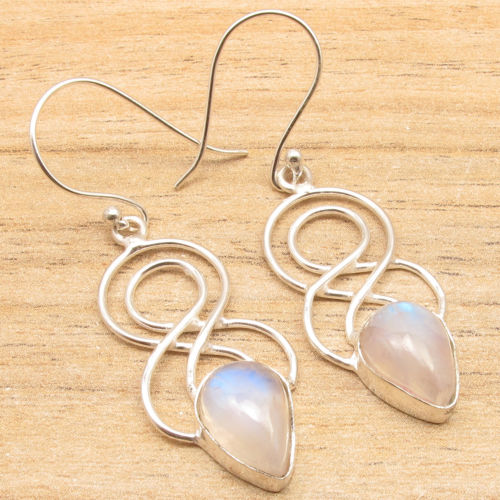 Silver Plated CABOCHON stud Rainbow MOONSTONE Swirl Wire DESIGNER Earrings(China (Mainland))