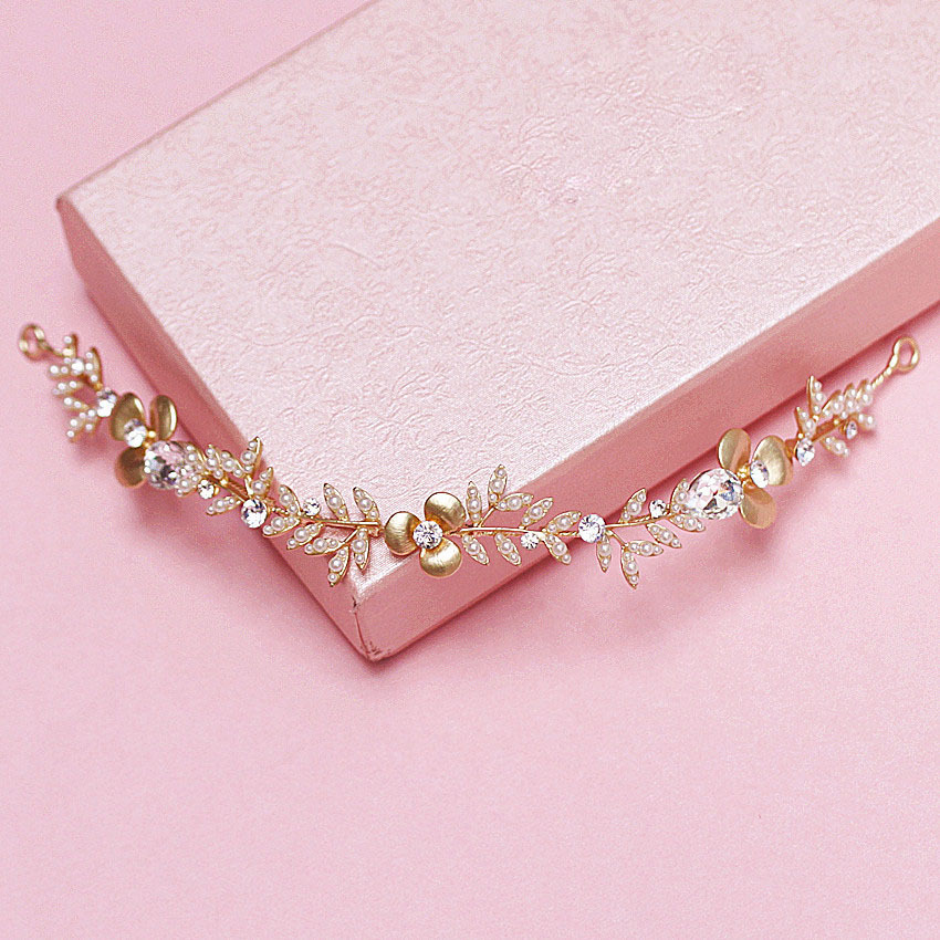Korean Style Jewelry Gold Pearls Crystal Flower And Leaf Wedding Hair Vine Headband Headpiece