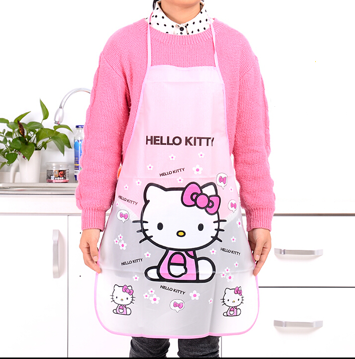 Waterproof PE Kawaii Jingle KITTY Adult Women Lady's Kitchen Cooking Pinafores Aprons Household Cleaning Tools & Accessories(China (Mainland))