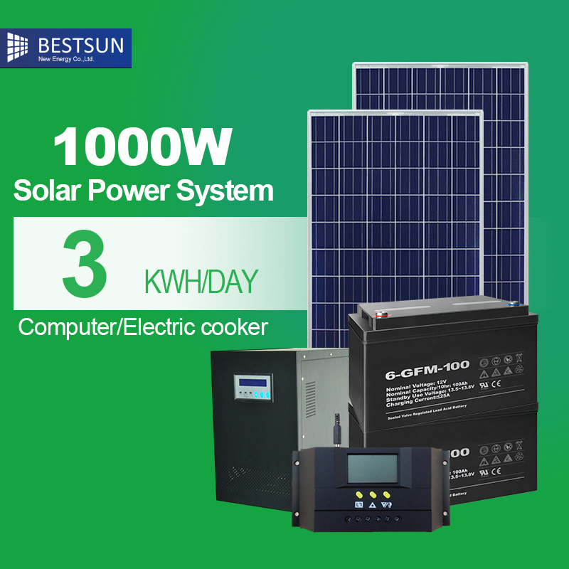 home solar panel system 1000w portable solar kit for home with battery panneau solaire 1kw off grid system controller lcd(China (Mainland))