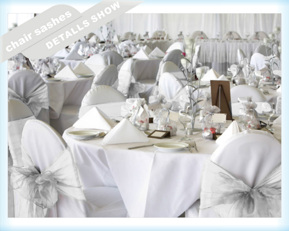 Здесь можно купить  100pcs white organza chair sashes bow weeding party banquet with free shipping  Дом и Сад